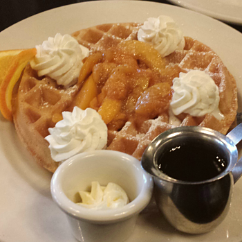 Crispy Belgian waffle with a peach compote and whipped cream @ Mother's Bistro & Bar