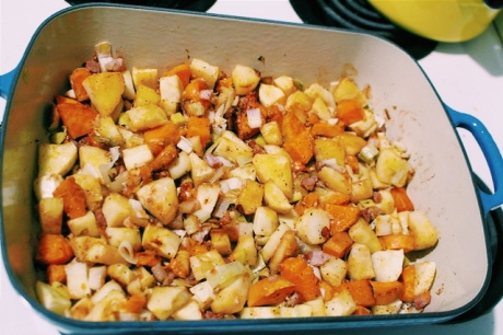 And the roasted pancetta root vegetables are ready!